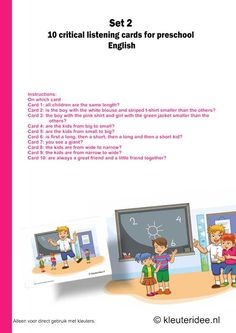 Users manual critical listening preschool 10 cards for preschool set kleuteridee. Language Activities, Toddler Activities, I Love School, Free Printables, Preschool, Education, Children, Cards, Teacher Stuff