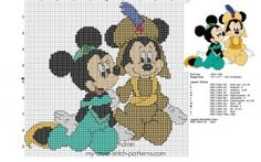 Mickey and Minnie Mouse as Jasmine and Aladdin cross stitch pattern