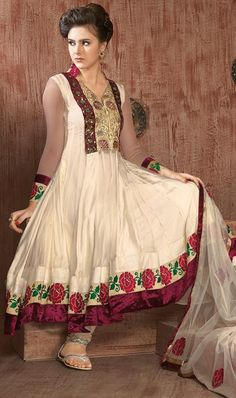 $92.59 Cream Full Sleeve Net and Silk Long Anarkali Salwar Kameez 21676