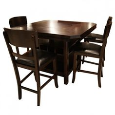 CROWN MARK CONNER MERLOT PUB TABLE & 4 STOOLS- DINING TABLE, DINING SET, DINING ROOM Gallery Furniture $799