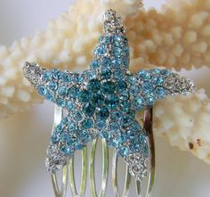 Blue Rhinestone Encrusted Starfish Hair Comb  by DanaCastle