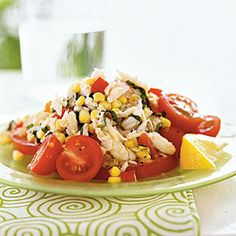 The tart lemon-basil dressing contrasts with the sweet corn, tomatoes, and crab in this no-cook salad. Pair it with cucumber soup or a.Crab, Corn, and Tomato Salad with Lemon-Basil Dressing (Serves Summer Entrees, Easy Summer Meals, Summer Salads, Summer Recipes, Healthy Summer, Summer Fun, Seafood Recipes, Cooking Recipes, Healthy Recipes