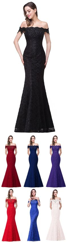 Mermaid Prom Dresses Off-the-shoulder, Long Party Dresses Lace with Beading, 2018 Formal Evening Gowns Modest