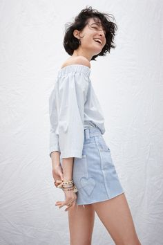 madewell x where i was from™ high-rise jean shorts worn with the clean  off-the-shoulder top. 0248cb8d345