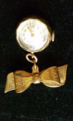 Antique WYCO SWISS 10K Plated Ribbon Lapel Watch Brooch with Beveled Glass Face