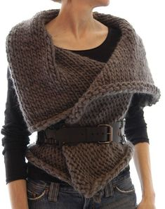 the knitted rectangle with armholes. . . . wearable every which way..