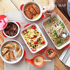 Solid Ceramic Kitchen Bakeware Set 5Pieces Set baking pans Au Gratin dishes doubleears porcelain tableware Red *** To view further for this item, visit the image link.