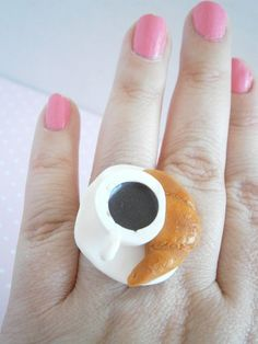 Coffee and Croissant Ring - Polymer Clay Rings - Miniature Food - Fimo Accessories - Gift Her - Tiny Food - Foodie Gift - French Breakfast