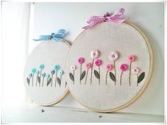 Hand Embroidery in hoop (Embroidery wall art) Pink Blue Button Flower Garden. ¥1,800, via Etsy.