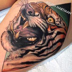 El tigre by @justinhartmanart #ink #inked #inkedanimals #tattoo#tattoos #tattooedpeople #bodyart #bodymods #neotrad #neotraditional #realism #traditional #eltigre #tiger #tigertattoo #justinhartmanart #cat #cattoo #cattattoo #vicious #beautiful #badass