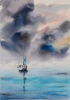 Fernando Pena - Acuarelas - Watercolors: Domingo tormentoso