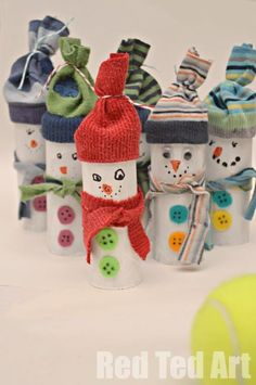 """Lots of fun with snowmen! Make these adorable TP Roll Snowmen using old tp rolls and """"single socks"""". Than have a great fun with some Snowman Bowling - great for basic maths skills too."""
