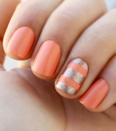 Essie Nail Polish in Under Where? Peach Nails, Gold Nails, Orange Nails, Pink Nail, Gold Glitter, Pastel Nails, Gold Manicure, Manicure Tips, Red Nail