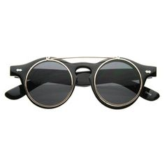 Vintage Retro Steampunk Round Flip Up Clear Lens Glasses 2950 Lunettes De Soleil  Rondes, Objets 0dcc57195a87