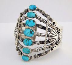 Native American Navajo Sterling Silver Kingman Turquoise Bracelet