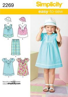 Simplicity pattern 2269: Child's Easy to Sew Dress, top, cropped pants and hat