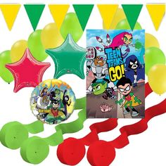 Teen Titans Go Party Decorations: Poster, Banner, Balloons, Streamers