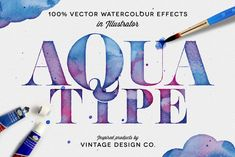 AquaType - Vector Watercolor Effects by Vintage Design Co. on Creative Market