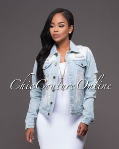 Chic Couture Online - Natasha  Light Denim Destroyed Accents Jacket.(http://www.chiccoutureonline.com/natasha-light-denim-destroyed-accents-jacket/)