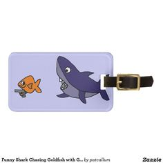 Funny Shark Chasing Goldfish with Gun Luggage Tags