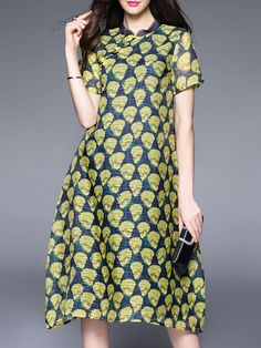 Shop Midi Dresses - A-line Elegant Short Sleeve Printed Midi Dress online. Discover unique designers fashion at StyleWe.com.