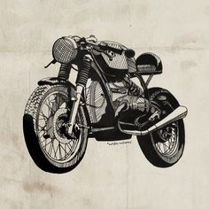 BMW Cafe Racer Illustration by Matylda Mcilvenny, via Behance. Based on a owned by the Wilkinson brothers. Bmw Cafe Racer, Cafe Racer Style, Cafe Racer Build, Cafe Racer Motorcycle, Motorcycle Design, Funny Motorcycle, Motorcycle Posters, Women Motorcycle, Motorcycle Helmets