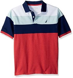 Nautica Little Boys' Short Sleeve Colorblock Polo With Stretch, Seacliff Ruby With Stretch, Polo T Shirts, Sports Shirts, Sports Graphic Design, Kids Fashion, Shirt Designs, Boys, Casual, Mens Tops, Clothes