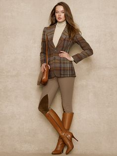 ralph lauren gamine looks - Bing images Mode Outfits, Chic Outfits, Fall Outfits, Fashion Outfits, Womens Fashion, Ralph Lauren Womens Clothing, Equestrian Outfits, Plaid Jacket, Preppy Style