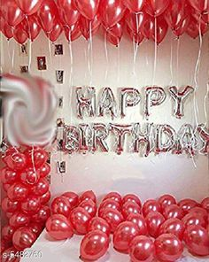 Accessories Happy Birthday Silver Foil Balloon 13 Letters + Pack of 25 Red Balloons Material: Latex  Size: 16 in Description: It Has 1 Piece Of 13 Letter Happy Birthday Foil Balloon & 30 Pieces Of Red Balloons Country of Origin: India Sizes Available: Free Size   Catalog Rating: ★4.1 (13599)  Catalog Name: Essential Beautiful Happy Birthday Foil Balloons CatalogID_817882 C127-SC1621 Code: 082-5482760-936