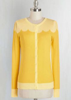 Long Sleeve Paris Cafe Cardigan in Jaune by Bea & Dot from ModCloth