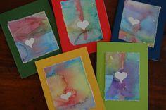 simple, beautiful valentines - sticker resist watercolors