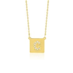 Made Simply Boutique's Square Necklace in Yellow Gold, Letter C