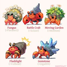 """These lil friends want to say hi 🦀 I'd love to hear which is your favorite! Pokemon Fusion Art, Pokemon Mix, Pokemon Fan Art, Pokemon Comics, Pokemon Memes, Pokemon Cards, Animal Drawings, Cute Drawings, Pokemon Breeds"