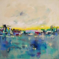 Large Abstract Colorful Skyline Cityscape Ocean by lindadonohue