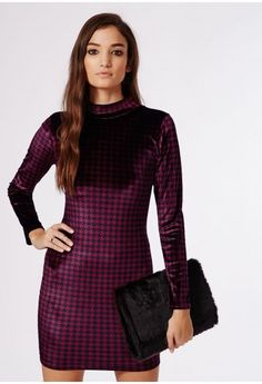 6fceac86b62 Velvet is the hottest trend of the moment this season and this purple  bodycon dress in a checked dogtooth print has certainly earned its way onto  our lust ...