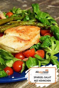Mit diesem Rezept kannst Du Spargel mal anders zubereiten.  #spargel #spargelsalat #salat #AllyouneedFresh #lebensmittelonlinebestellen Meat, Food, Salads, Proper Tasty, Meal, Essen, Meals, Yemek, Eten