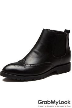 GrabMyLook Point Head Mens Black Leather Ankle Boots Shoes