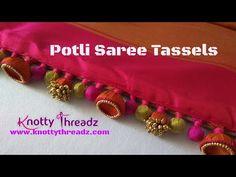Designer Aari Work Saree Edging   Saree Tassels Using Jhumkas and Potlis   www.knottythreadz.com - YouTube