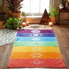 Bohemia colgante de pared india mandala tapiz manta 7 chakra de color del arco iris rayas viajes verano de boho beach toalla de yoga mat