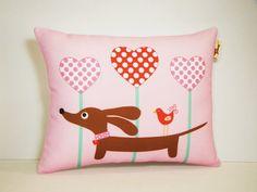 Dachshund Pillow - Doxie Valentine Lollipop Hearts in Candy Pink