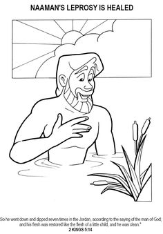 naaman healed of leprosy coloring page - Bible Story Coloring Pages Naaman