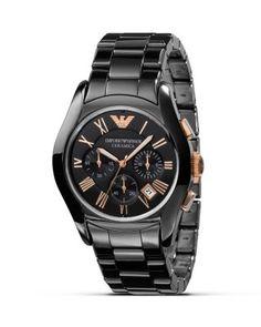 EMPORIO ARMANI Black Watch With Rose Gold Accents, 42Mm. #emporioarmani #42mm