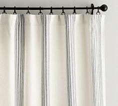 Riviera Stripe Drape with Blackout Liner, 50 x Charcoal At Pottery Barn - Rugs & Windows - Drapes & Curtains - Linen Striped Curtains, Printed Curtains, Grommet Curtains, Bedroom Curtains, Striped Linen, Silk Drapes, Ticking Stripe, Stripes