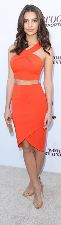 Who made  Emily Ratajkowski's wrap orange skirt and cropped top that she wore in Los Angeles?