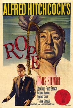 ROPE (1948), about two young men who decide to kill someone just to see what the act of murder is like, was basically an experiment for Hitch. It's done almost entirely in one continuous take. When he had to change film reels, he aimed the camera at a dark surface, such as the back of a man's dark suit, for a seamless switch.