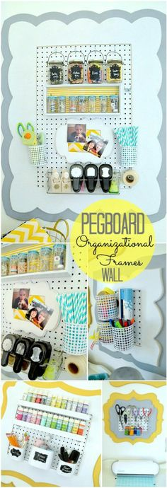 Craft room organizational frames with pegboard at Tatertots & Jello