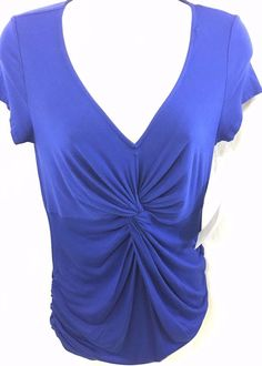 New Motherhood Maternity Blue Top Size XS Ruched Stretchy Comfortable NWT #MotherhoodMaternity #KnitTop #Casual