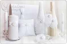"""Купить Набор свадебных аксессуаров """"Комильфо"""" - белый, свадьба, свадебные аксессуары, свадебное украшение"""