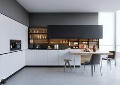 Fabulous Modern Kitchen Sets on Simplicity, Efficiency and Elegance - Home of Pondo - Home Design Kitchen Sink Decor, Farmhouse Sink Kitchen, Modern Farmhouse Kitchens, Kitchen Cabinet Design, Kitchen Sets, Kitchen Layout, Kitchen Styling, Kitchen Trends, Kitchen Backsplash