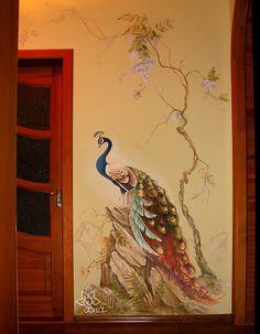 объемная роспись стен Балашиха ПАВЛИН